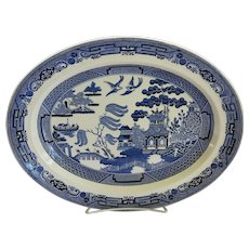 Vintage Wedgwood Willow Oval Platter Blue Medium Size