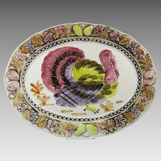 Vintage Oval Embossed Turkey Platter Thanksgiving Christmas Hanukkah New Year