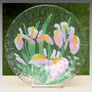 Sydenstricker Art Glass Iris Plate Pink Yellow Irises  5 Available 8.5 inches
