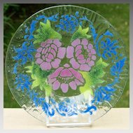 Sydenstricker Art Glass Floral Plate  - Pink Roses w/ Blue Accents