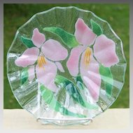 Sydenstricker Art Glass Floral Bowl - Pink Irises with Orange and Yellow Accents