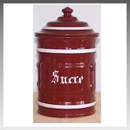 Vintage French Enamelware Sucre Sugar Canister Farmhouse