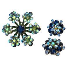 Vintage JULIANA D&E Blue Green Rhinestone Snowflake Brooch Earrings Set Parure