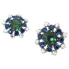 Vintage Emerald Green Sapphire Blue Rhinestone Earrings, 1960s Cluster Clip On