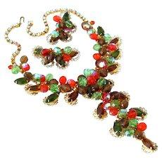 JULIANA Huge Autumn Dangle Bead Bib Necklace Earrings Set, D&E Rhinestone Demi Parure