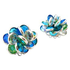 Vintage Bezel Set Blue Green Aurora Borealis Rhinestone Cluster Clip On Earrings