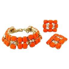 Vintage JULIANA Orange Milk Glass Bracelet Earrings Set, D&E Rhinestone Parure