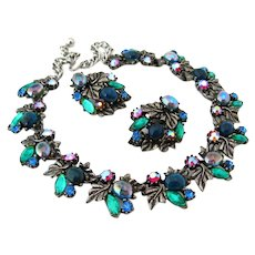 Vintage Signed ART Blue Green Glass Leaf Necklace Earrings Set, 1960s Rhinestone Demi Parure
