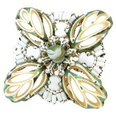 Signed MIRIAM HASKELL Seashell Milk Glass Bead Brooch , Vintage Maltese Cross Shell Pin