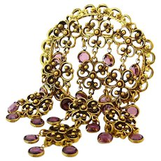 Vintage Goldette Style Huge Medallion Purple Bezel Set Rhinestone Dangle Brooch