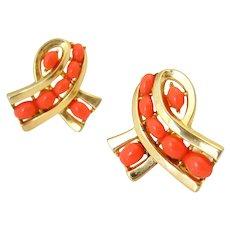 Vintage TRIFARI Mango Orange Cabochon Bow Earrings, Signed 1960s Plastic Clip On