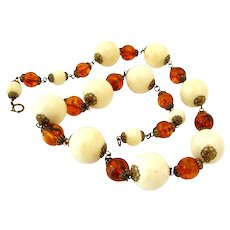 Vintage 1930s Art Deco Amber Ivory Colored Lucite Plastic Bead Chunky Necklace