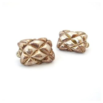 Vintage 1980s Quilted Metal Chunky Earrings, Unsigned Silver-tone Clip On