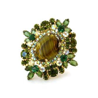Vintage JULIANA Givre Art Glass Green Rhinestone Brooch, D&E Chalk White Aurora Borealis Pin