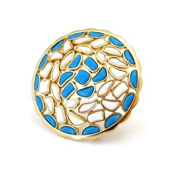 Vintage TRIFARI Modern Mosaics Molded Glass Circle Brooch, Signed 1960s Blue White Pin