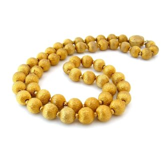 Vintage Textured Golden Bead Necklace, 1950s Unsigned Heavy Beaded Single Strand