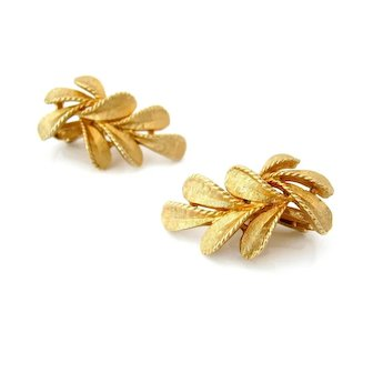 Vintage FRANCOIS Leaf Brushed Gold-tone Earrings, 1950s Signed Clip On, Coro Jewelry
