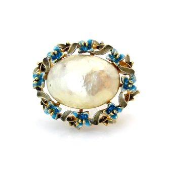 Vintage Signed ART Faux Mabe Pearl Enamel Flower Brooch, 1960s Blue Floral Pin