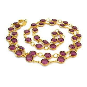 Vintage RAFAELIAN Austrian Crystal Amethyst Purple Necklace, Long Rhinestone Strand