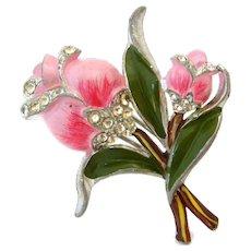 Vintage 1940s Pink Rose Enamel Flower Fur Clip, Coro Style Rhinestone Brooch