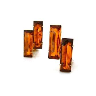Vintage Huge Topaz Baguette Rhinestone Earrings, Brown Rectangle Glass Clip On