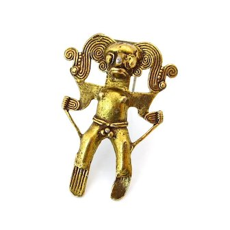 Vintage ALVA STUDIOS Mayan God Warrior Fur Clip, Signed Figural Metalwork Brooch