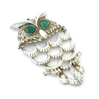 Vintage Huge Articulated Owl White Enamel Glass Pendant, 1960s Bird Figural