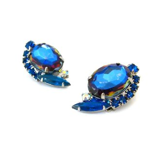 Vintage JULIANA Watermelon Art Glass Earrings, D&E Blue Rhinestone Clip On