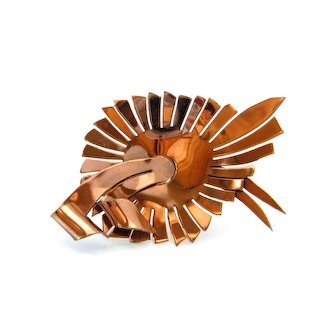 Vintage 1950s Mid Century Modern Copper-tone Brooch, Huge Abstract Metalwork Pin