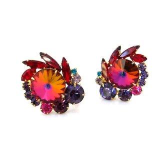Vintage JULIANA Huge Rivoli Art Glass Earrings D&E Purple Red Rhinestone Clip On