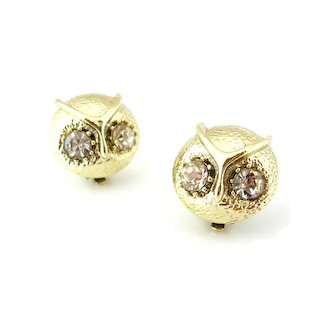Vintage Owl Clear Rhinestone Earrings 1960s Signed PAT PEND Bird Figural Clip On