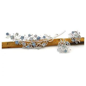 Vintage CORO Blue Rhinestone Leaf Brooch Earrings Set, Signed 1950s Demi Parure
