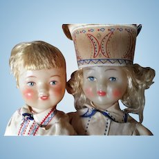 "Vintage Boy and Girl Celluloid Dolls, Russian, Regional Costume, 11"" tall"