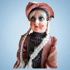 BOUDOIR DOLL, 1920-30s, French, Silk faced, Side-glancing eyes