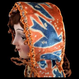Vintage French Doll's Silk Velvet Bonnet, Traditional Style, Orange with Bluebird Pattern