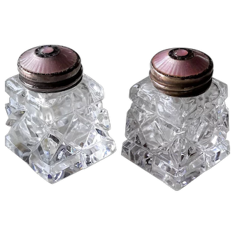 Vintage 1960s Norway Salt & Pepper Shakers, Crystal, Pink Guilloche Enamel on Gilt Sterling Silver, Hroar Prydz