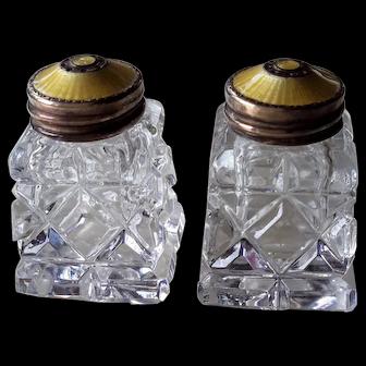 Vintage 1960s Norway Salt & Pepper Shakers, Crystal, Yellow Guilloche Enamel on Gilt Sterling Silver, Hroar Prydz