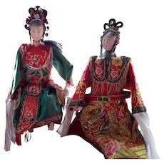 REDUCED! Antique Chinese Opera Puppets, Male & Female, early 1900's