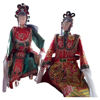 Antique Opera Puppets, Male & Female Pair, Chinese 1900-1930s