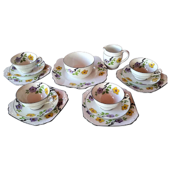 FOLEY Art Deco 1930's Elegant Tea Service for Four