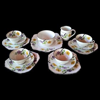 Fabulous Foley EB Deco 1930 Tea Service Trios with Sugar Bowl, Cream Jug & Cake Platter