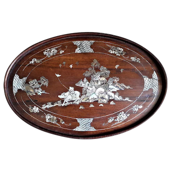 Antique C.19th Vietnamese Opium Tray, Hardwood Inlaid Mother of Pearl