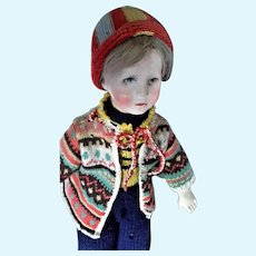 Charming Kathe Kruse 'German Child' Cloth Boy Doll, 20 inches, 1930's-1940's.