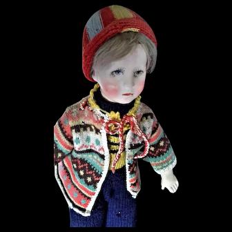 Charming Kathe Kruse 'German Child' Cloth Boy Doll, 20 inches, 1930's-1940's.