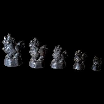 19th Century Bronze Opium Weights, Set of Five Singha Lions, Burma