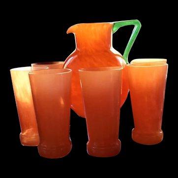 "Rare: Charles Schneider Orange Glass Water Set ""TANGO"" Art Deco, France, 1930's"