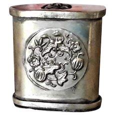 Antique C.19th Chinese Export Opium Box, Silver Interior with Erotica