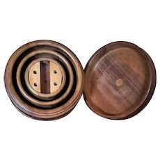 Unique Antique:  1902 - European Carved Wood Collar & Studs Box