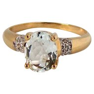 French Vintage 18K Aquamarine Diamond Ring