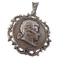 Ornate Vintage 900 Silver Mozart Medal Pendant